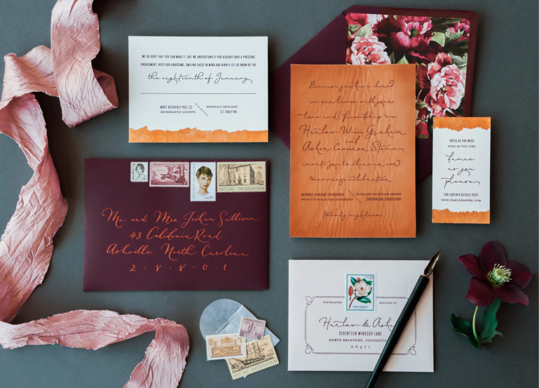 invitation mariage cuir