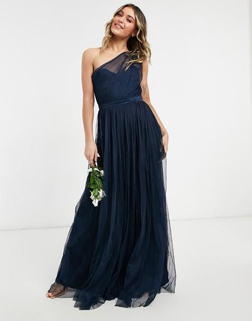 robe bleu marine asymétrique